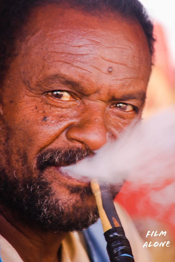 Sudanese man smoking the shesha pipe, Wadi Haifa